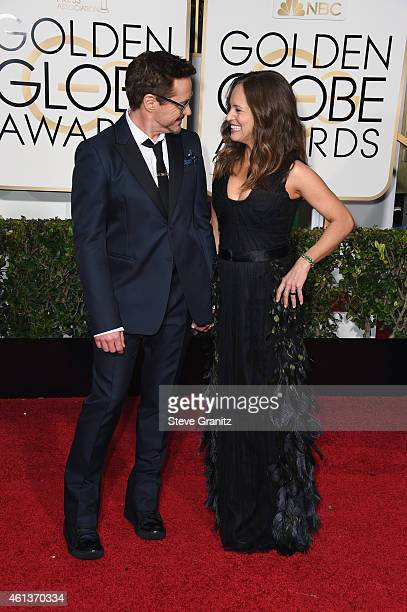 Actor Robert Downey Jr and producer Susan Downey attend the 72nd Annual Golden Globe Awards at The Beverly Hilton Hotel on January 11 2015 in Beverly...
