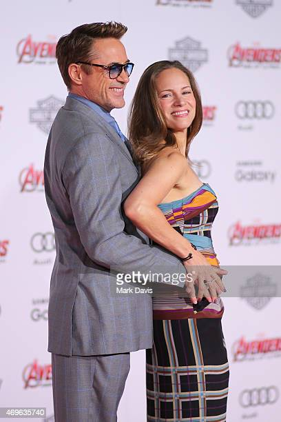 Actor Robert Downey Jr and producer/wife Susan Downey attends the premiere of Marvel's Avengers Age Of Ultron at Dolby Theatre on April 13 2015 in...