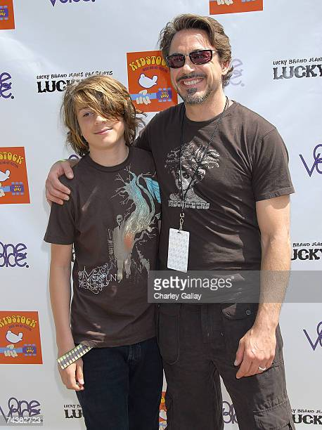 Actor Robert Downey Jr and son Indio Downey pose at the Kidstock Music and Art Festival at Greystone Mansion June 2 2007 in Los Angeles California