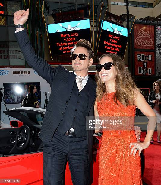 Actor Robert Downey Jr and Susan Downey arrive at the premiere of Walt Disney Pictures' Iron Man 3 at the El Capitan Theatre on April 24 2013 in...