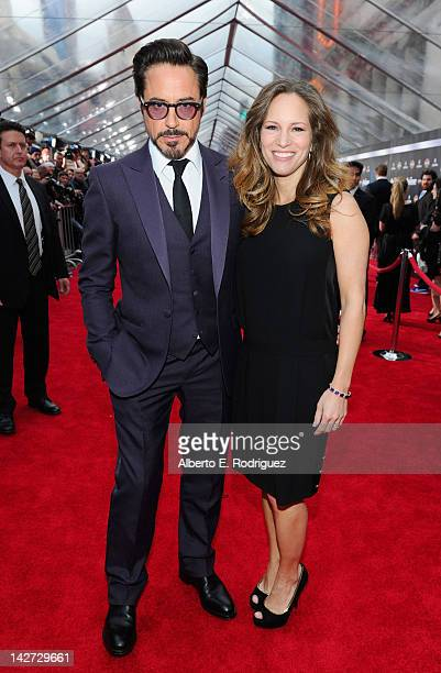 Actor Robert Downey Jr and Susan Downey attend the premiere of Marvel Studios' Marvel's The Avengers held at the El Capitan Theatre on April 11 2012...