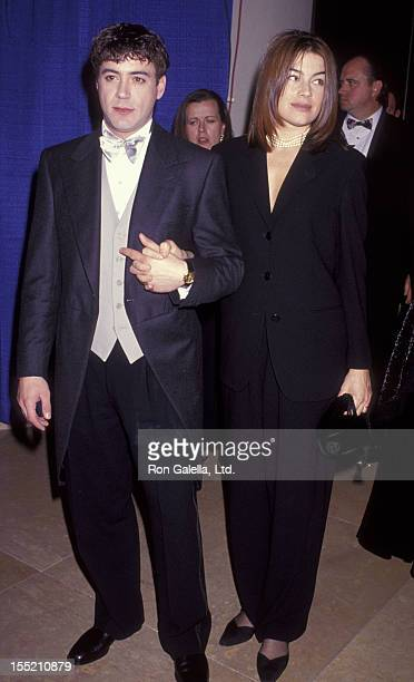 Actor Robert Downey Jr and wife Deborah Falconer attend 50th Annual Golden Globe Awards on January 23 1993 at the Beverly Hilton Hotel in Beverly...