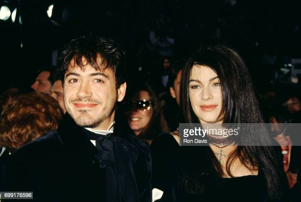 Actor Robert Downey Jr and wife Deborah Falconer attend the 65th Academy Awards on March 29 1993 at the Shrine Auditorium in Los Angeles California