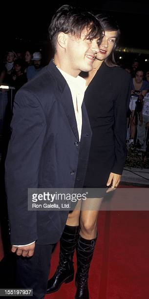 Actor Robert Downey Jr and wife Deborah Falconer attend the grand opening of Planet Hollywood on September 17 1995 at Planet Hollywood in Beverly...