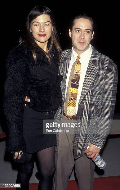 Actor Robert Downey Jr and wife Deborah Falconer attend the premiere of Restoration on December 18 1995 at the Academy Theater in Beverly Hills...