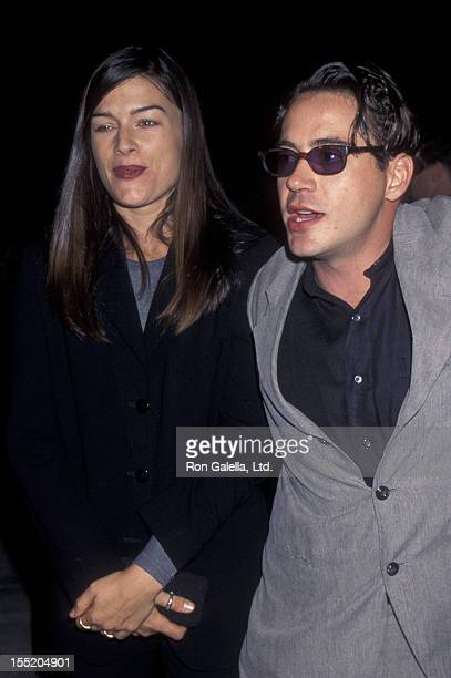 Actor Robert Downey Jr and wife Deborah Falconer attend the premiere of Home For The Holidays on October 30 1995 at Paramount Studios in Hollywood...