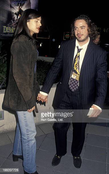 Actor Robert Downey Jr and wife Deborah Falconer attend the premiere of Tales From The Crypt Demon Night on January 11 1995 at the Galaxy Theater in...