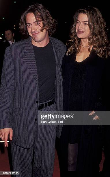 Actor Robert Downey Jr and wife Deborah Falconer attend the premiere of Only You on October 3 1994 at the Academy Theater in Beverly Hills California