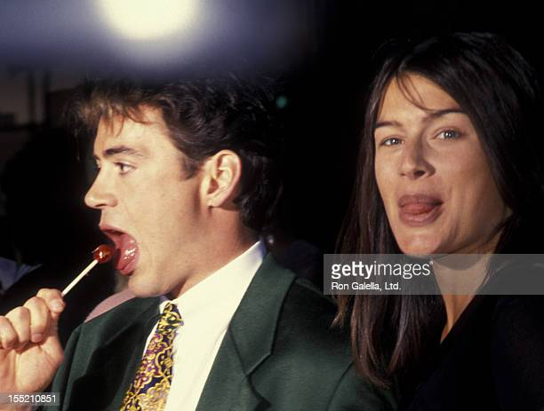 Actor Robert Downey Jr and wife Deborah Falconer attend the screening of Heart And Souls on August 11 1993 at the Academy Theater in Beverly Hills...