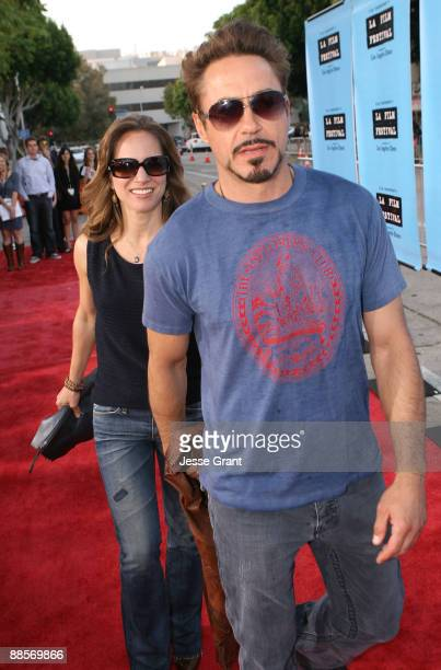 """Actor Robert Downey Jr. And wife Susan Downey arrive at the 2009 Los Angeles Film Festival's Opening Night Premiere of """"Paper Man"""" held at the Mann..."""