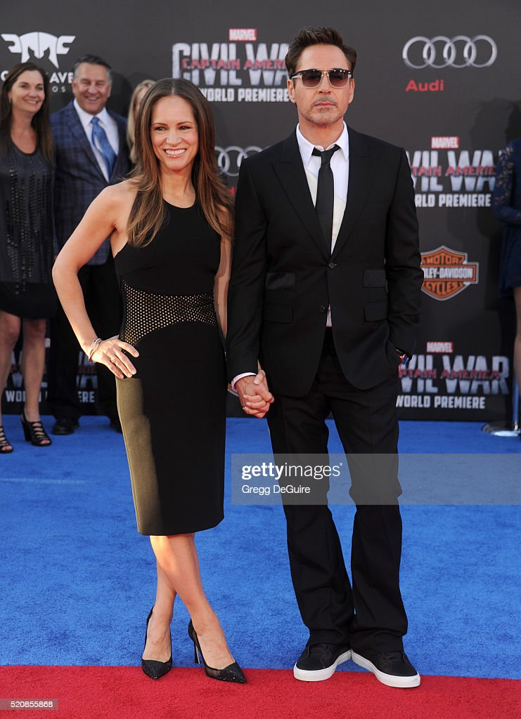 Actor Robert Downey Jr. and wife Susan Downey arrive at the premiere of Marvel's 'Captain America: Civil War' on April 12, 2016 in Hollywood, California.