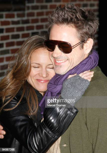 """Actor Robert Downey, Jr. And wife Susan Downey visit """"Late Show With David Letterman"""" at the Ed Sullivan Theater on December 16, 2009 in New York..."""