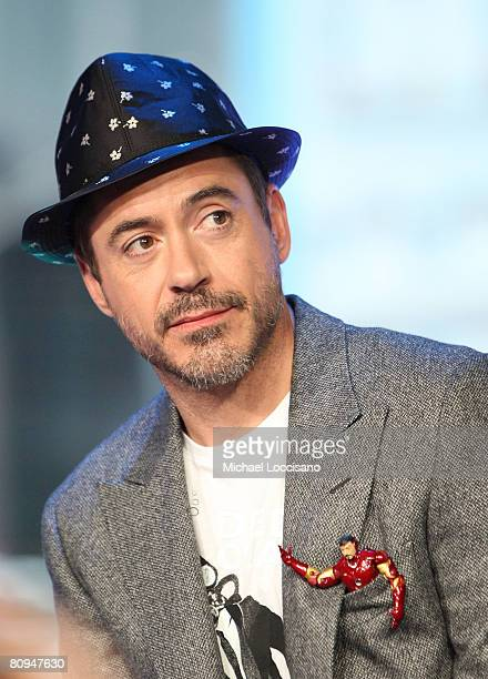 Actor Robert Downey Jr appears with his 'Iron Man' action figure on MTV's 'TRL' at MTV STudios in New York City's Times Square on April 28 2008 The...