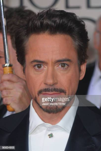 Actor Robert Downey Jr arrives at the 67th Annual Golden Globe Awards held at The Beverly Hilton Hotel on January 17 2010 in Beverly Hills California