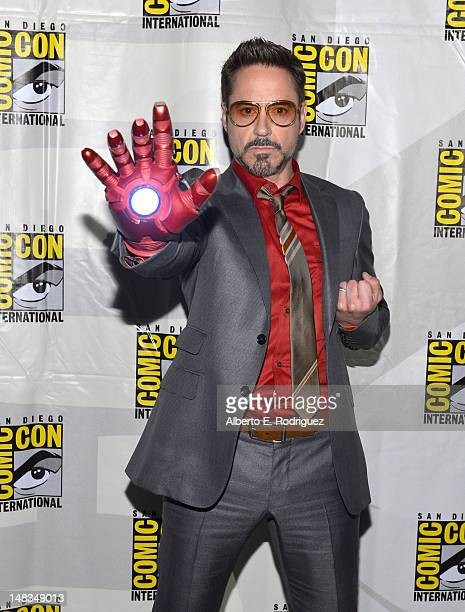 Actor Robert Downey Jr arrives at the Iron Man 3 panel with Marvel Studios during ComicCon International 2012 at San Diego Convention Center on July...