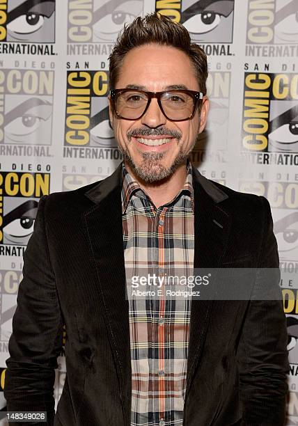 """Actor Robert Downey Jr. Arrives at the """"Iron Man 3"""" press conference with Marvel Studios during Comic-Con International 2012 at San Diego Convention..."""