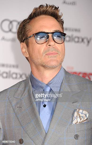 Actor Robert Downey Jr arrives at the Marvel's 'Avengers Age Of Ultron' Los Angeles Premiere at Dolby Theatre on April 13 2015 in Hollywood California