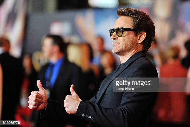 Actor Robert Downey Jr. Arrives at the Premiere of Disney and Marvel Studios' 'Doctor Strange' on October 20, 2016 in Hollywood, California.