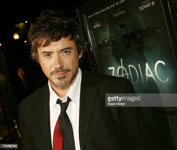 Actor Robert Downey Jr arrives at the premiere of Paramount Picture's Zodiac at the Paramount Theatre on March 1 2007 in Los Angeles California