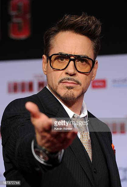Actor Robert Downey Jr arrives at the premiere of Walt Disney Pictures' Iron Man 3 at the El Capitan Theatre on April 24 2013 in Hollywood California