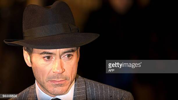 "Actor Robert Downey Jr arrives at the world premiere of the new film ""Sherlock Holmes"" in central London, England on December 14, 2009. The film is..."
