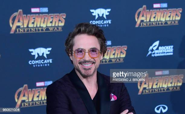 TOPSHOT Actor Robert Downey Jr arrives or the World Premiere of the film 'Avengers Infinity War' in Hollywood California on April 23 2018