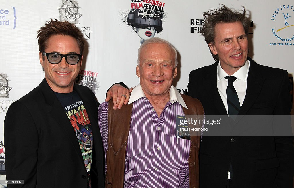 Actor Robert Downey Jr., astronaut Buzz Aldrin and musician John Taylor arrive at Writers In Treatment's 4th Annual Experience, Strength And Hope Awards at Skirball Cultural Center on February 15, 2013 in Los Angeles, California.