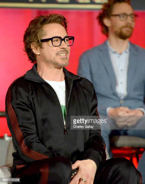 Actor Robert Downey Jr at the Avengers Infinity War Press Junket in Los Angeles CA April 22nd 2018