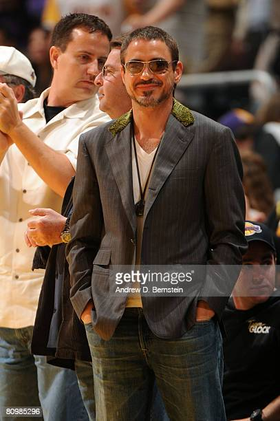 Actor Robert Downey Jr attends Game One of the Western Conference Semifinals between the Utah Jazz and the Los Angeles Lakers during the 2008 NBA...