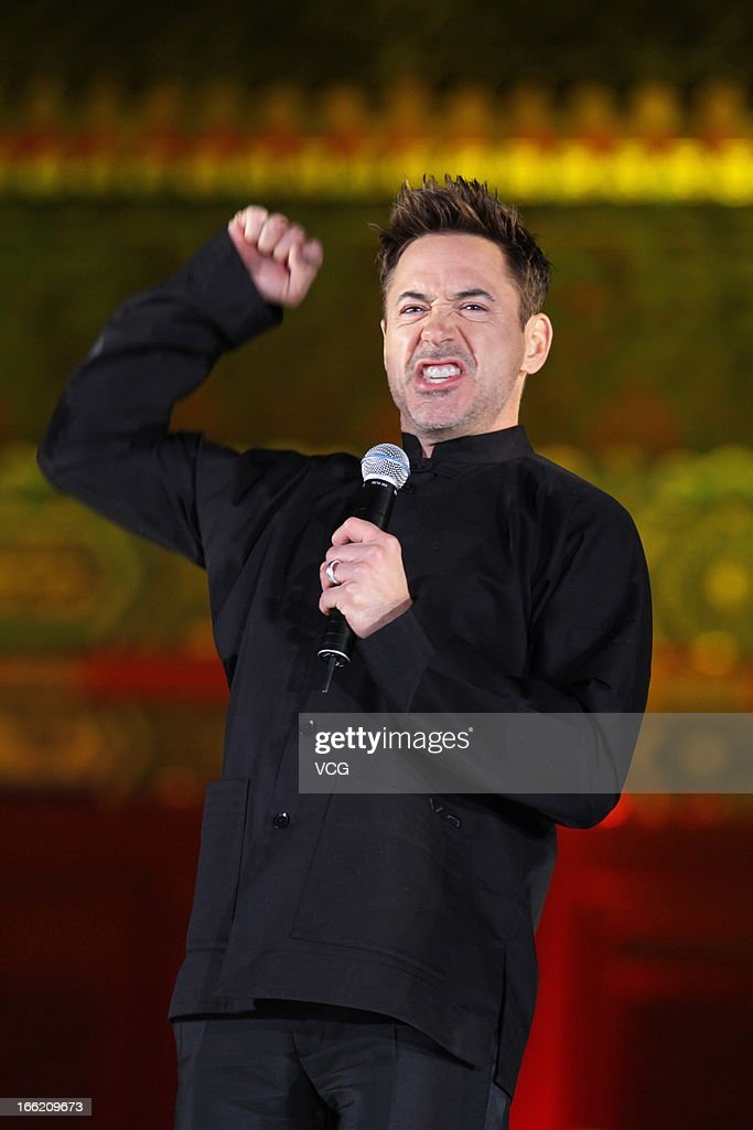 Actor Robert Downey Jr. attends 'Iron Man 3' Beijing premiere at the Forbidden City on April 6, 2013 in Beijing, China.