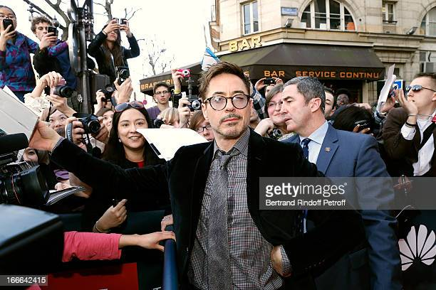 Actor Robert Downey Jr attends 'Iron Man 3' movie premiere held at Le Grand Rex on April 14 2013 in Paris France