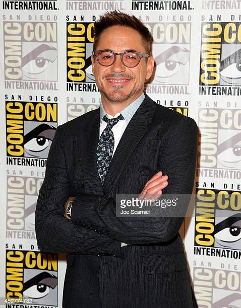 Actor Robert Downey Jr attends Marvel's Hall H Press Line for 'AntMan' and 'Avengers Age Of Ultron' during ComicCon International 2014 at San Diego...