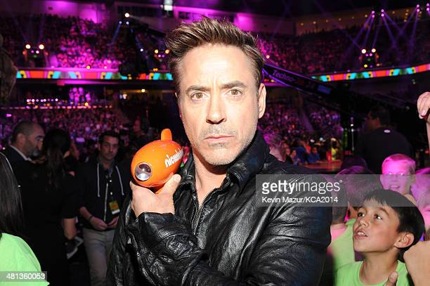 Actor Robert Downey Jr attends Nickelodeon's 27th Annual Kids' Choice Awards held at USC Galen Center on March 29 2014 in Los Angeles California