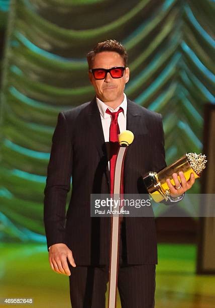 Actor Robert Downey Jr attends the 2015 MTV Movie Awards show at Nokia Theatre LA Live on April 12 2015 in Los Angeles California