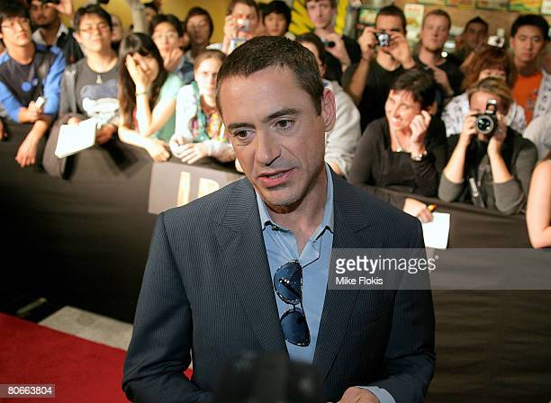 "Actor Robert Downey Jr attends the Australian premiere of ""Iron Man"" at the George Street Greater Union Cinemas on April 14, 2008 in Sydney,..."