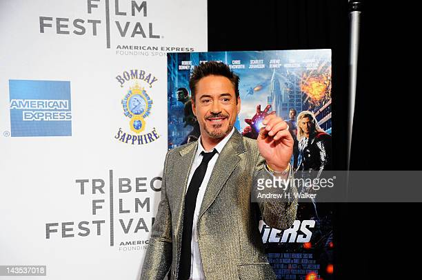 """Actor Robert Downey Jr. Attends """"The Avengers"""" Premiere, Closing Night Of The Tribeca Film Festival Sponsored By Bombay Sapphire on April 28, 2012 in..."""