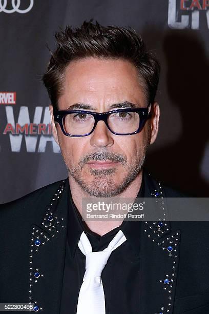 Actor Robert Downey Jr attends the 'Captain America Civil War' Paris Premiere Held at Le Grand Rex on April 18 2016 in Paris France