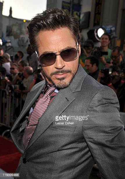 Actor Robert Downey Jr attends the Captain America The First Avenger Los Angeles Premiere at the El Capitan Theatre on July 19 2011 in Hollywood...