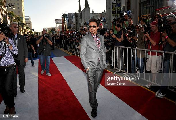Actor Robert Downey Jr attends the 'Captain America The First Avenger' Los Angeles Premiere at the El Capitan Theatre on July 19 2011 in Hollywood...