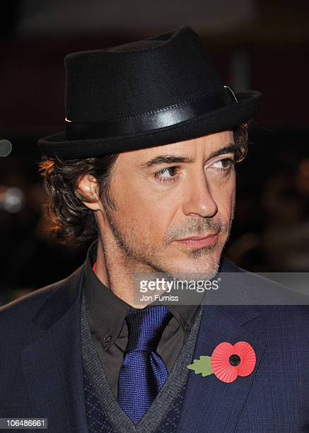 Actor Robert Downey Jr attends the European Premiere of Due Date at Empire Leicester Square on November 3 2010 in London England
