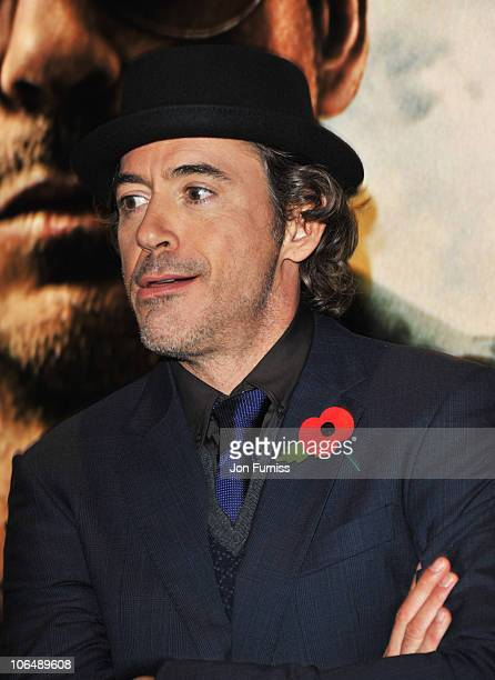 Actor Robert Downey Jr attends the European Premiere of 'Due Date' at Empire Leicester Square on November 3 2010 in London England
