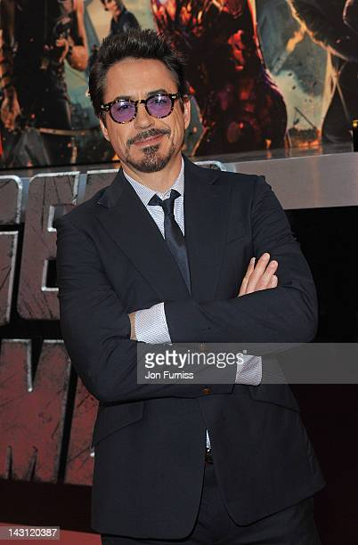 """Actor Robert Downey Jr attends the European Premiere of Marvel Studios' """"Marvel's Avengers Assemble"""" held at the Vue Westfield on April 19, 2012 in..."""