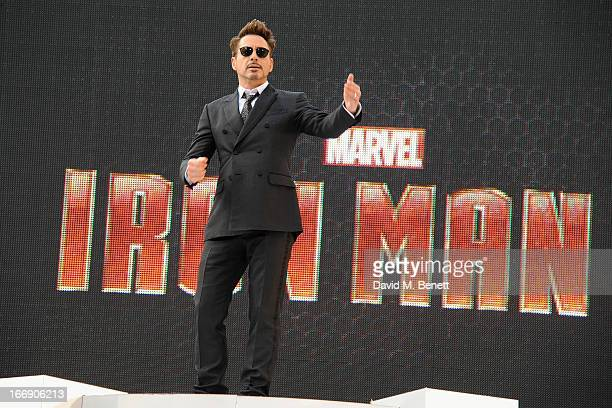 "Actor Robert Downey Jr attends the ""Iron Man 3"" Special Screening at the Odeon Leicester Square on April 18, 2013 in London, England."