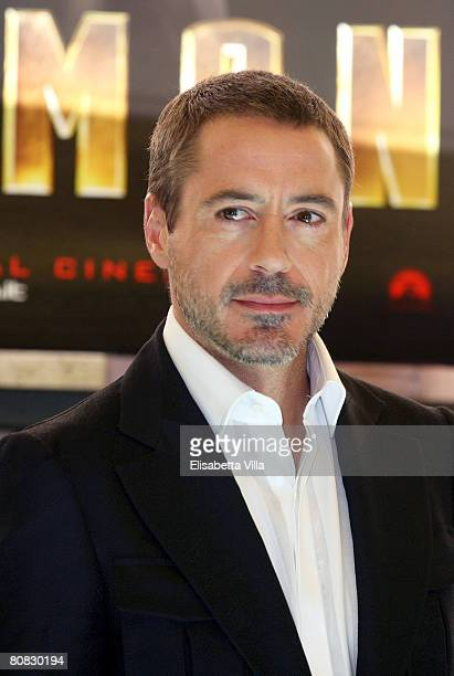 S actor Robert Downey Jr attends the 'Iron Man' photocall at Hassler Hotel on April 23 2008 in Rome Italy