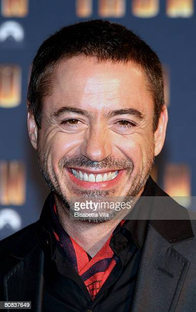 Actor Robert Downey Jr. Attends the 'Iron Man' premiere at Warner Moderno Cinema on April 23, 2008 in Rome, Italy.