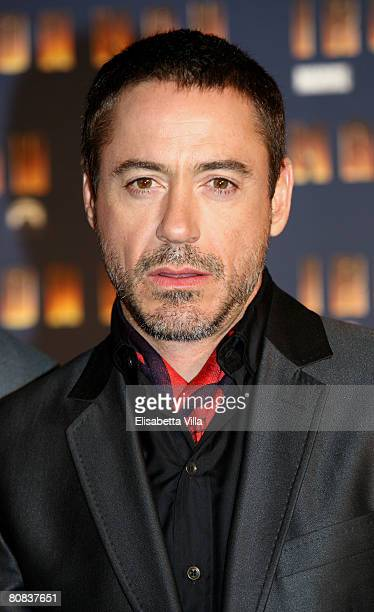 S actor Robert Downey Jr attends the 'Iron Man' premiere at Warner Moderno Cinema on April 23 2008 in Rome Italy
