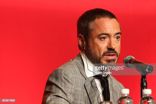 MEXICO CITY APRIL 09 *EXCLUSIVE COVERAGE* Actor Robert Downey Jr attends the 'Iron Man' press conference at Hotel Sheraton Centro Historico on April...