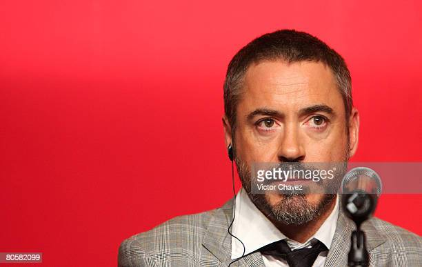"Actor Robert Downey Jr. Attends the ""Iron Man"" press conference at Hotel Sheraton Centro Historico on April 9, 2008 in Mexico City, Mexico."