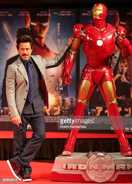 Actor Robert Downey Jr attends the 'Iron Man' Press Conference at Shinagawa Prince Hotel on September 3 2008 in Tokyo Japan The film will open on...