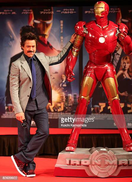 Actor Robert Downey Jr. Attends the 'Iron Man' Press Conference at Shinagawa Prince Hotel on September 3, 2008 in Tokyo, Japan. The film will open on...